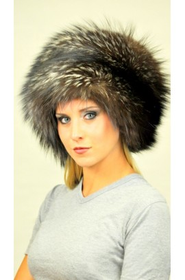 Silver fox fur hat - classic style