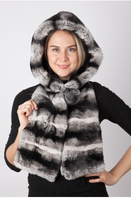Rex chinchilla fur hood-scarf