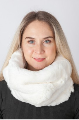 White rex rabbit fur neck warmer