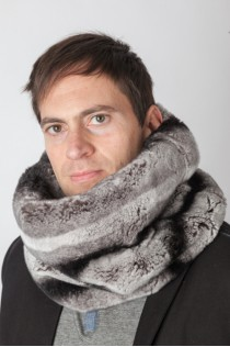 Rex rabbit fur neck warmer - Horizontal effect