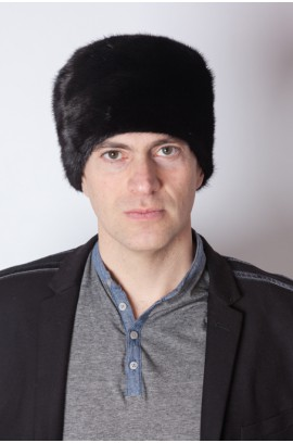 Black mink fur hat - unisex