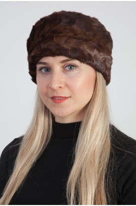 Mink fur hat – Created with brown mink fur remnants
