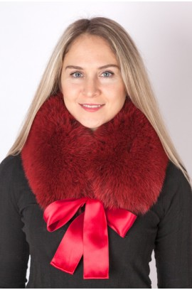 Red-cherry fox fur collar, neck warmer