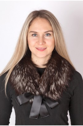 Silver fox fur collar-neck warmer (dark)