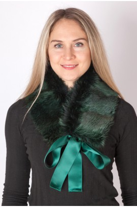 Green fox fur collar-neck warmer