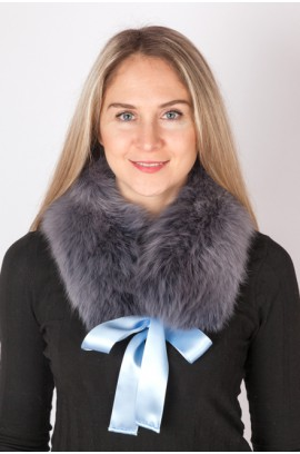 Blue fox fur collar-neck warmer
