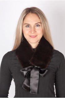 Black mink fur collar-neck warmer