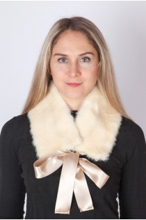 White mink fur collar-neck warmer