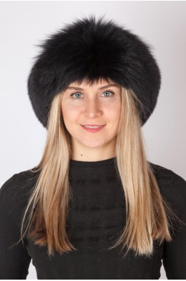 Black fox fur headband - neck warmer