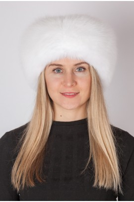 White fox fur headband - Fur collar