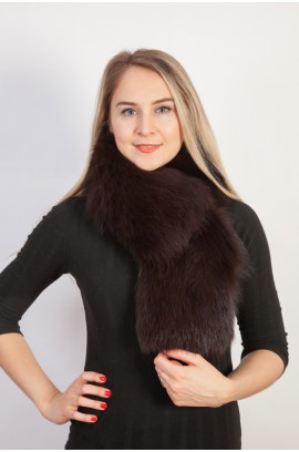 Brown fox fur scarf-collar (Dark brown)