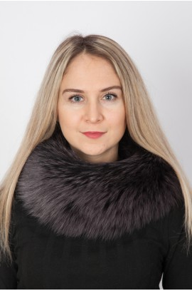 Navy blue fox fur neck warmer