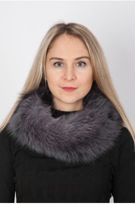 Blue fox fur neck warmer