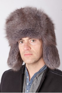 Blue arctic fox fur hat – Russian style