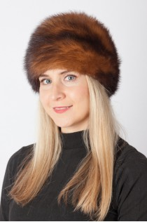 Dark brown polecat fur hat
