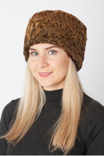 Golden karakul lamb fur hat