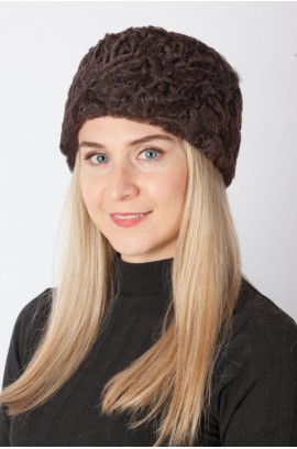 Dark brown karakul Lamb fur hat