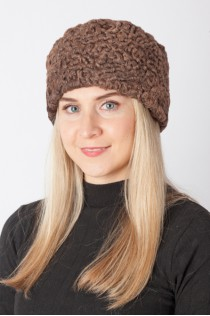 Brown karakul lamb fur hat