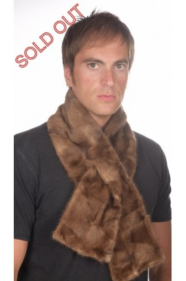Mink fur scarf - Brown mink remnants