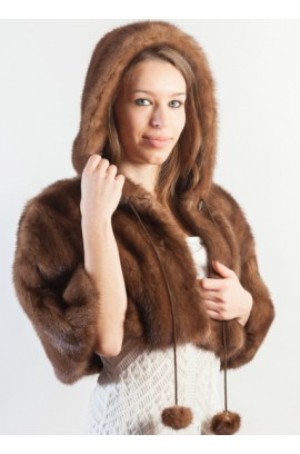 Mink fur shawl with hood