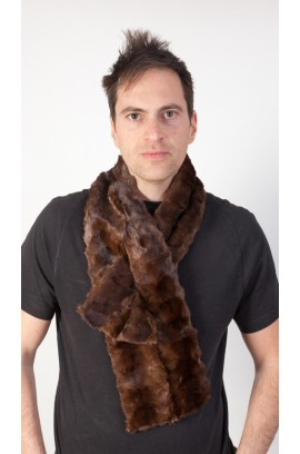 Mink fur scarf - Brown mink fur remnants