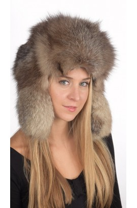 Russian style - Crystal fox fur hat Unisex