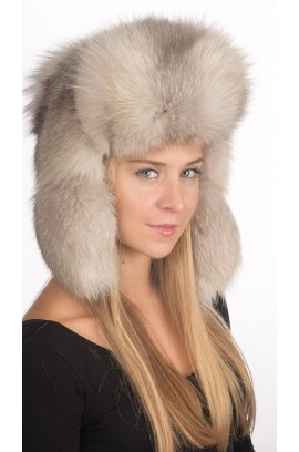 Russian style - Grey fox fur hat for women