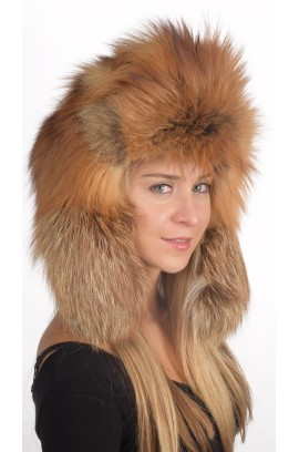 Russian style - Golden fox fur hat for women