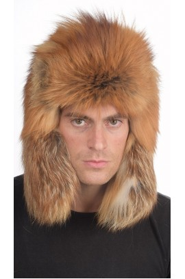 Russian style - Golden fox fur hat for men