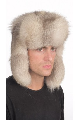 Russian style - Grey fox fur hat for men