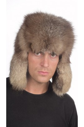 Russian style - Crystal fox fur hat for men