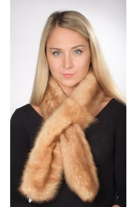 Sable fur scarf, champagne colour - double sided fur