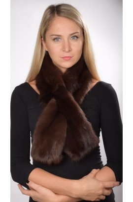 Sable fur scarf, dark brown, for women