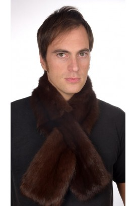 Sable fur scarf, dark brown colour, for men