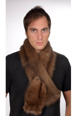 Sable fur scarf, brown colour, for men