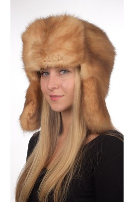 Sable fur hat russian style unisex - Golden-champagne color