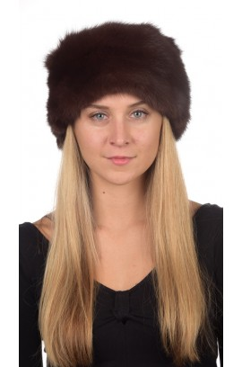 Sable fur hat unisex - dark brown