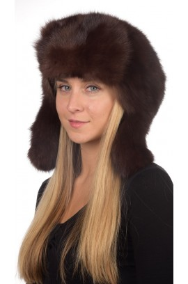 Sable fur hat russian style unisex - Dark brown