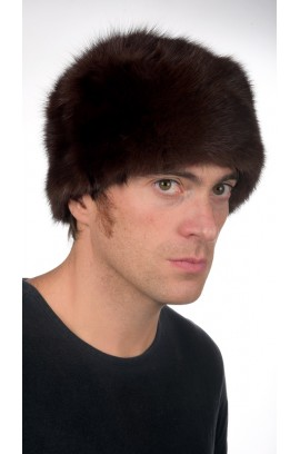 Sable fur hat - dark brown