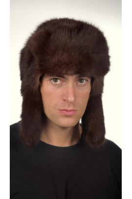 Sable fur hat dark brown - Russian style