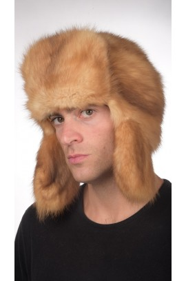 Sable fur hat Russian style - Golden