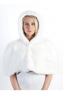 White Rex Fur Cape with Hood