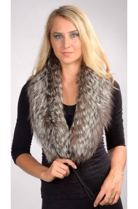 Silver fox fur scarf - Double sided fur