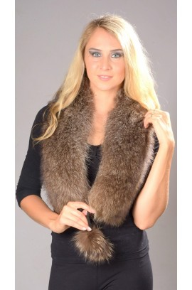 Raccoon fur scarf with pom poms