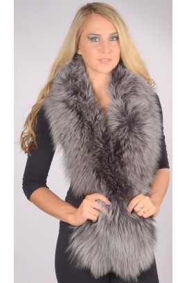 Blue fox fur scarf