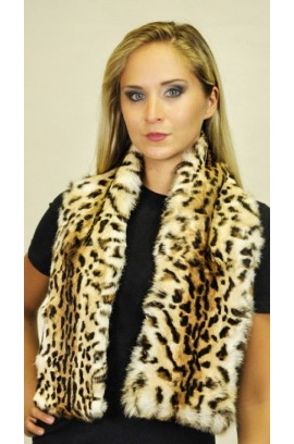 Spotted rabbit fur scarf