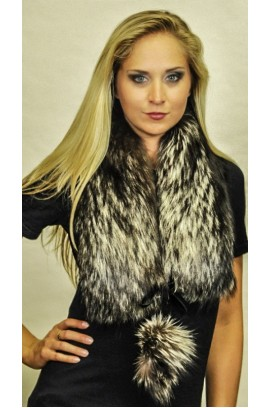Silver fox fur scarf - With fox fur pom poms