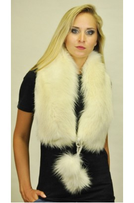 White fox fur scarf - With real fox fur pom poms