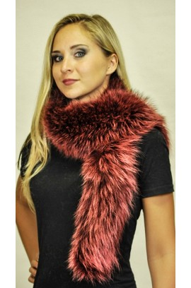 Red-cherry raccoon fur scarf