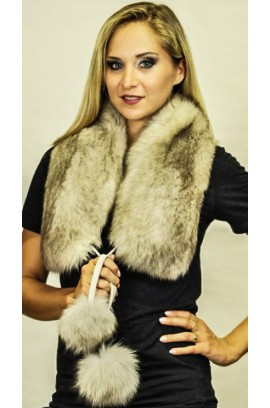 Grey fox fur scarf - With real fox fur pom poms